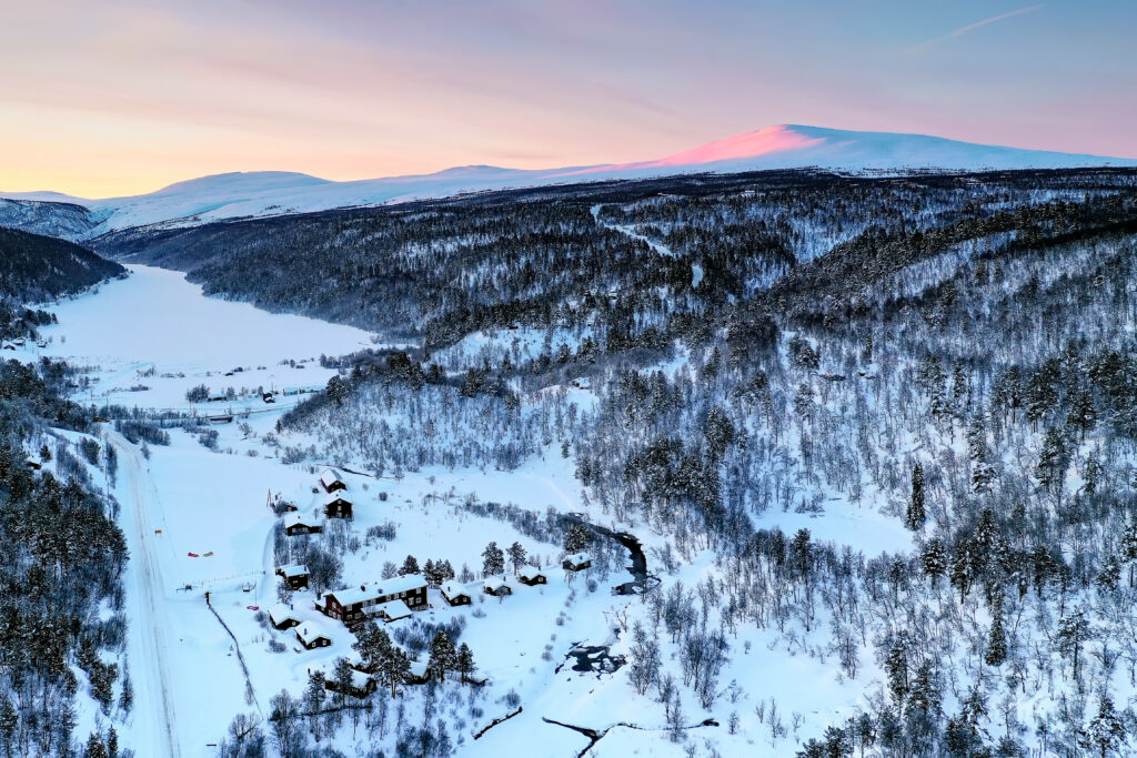 Rondane River Lodge aerial view winter